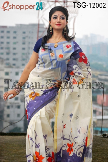 Picture of Hand Print Cotton Kuta Saree - TSG-12002