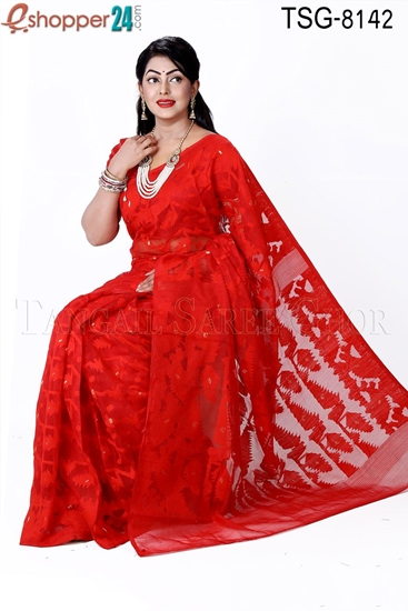 Picture of Moslin Silk Jamdani Saree - TSG-8142