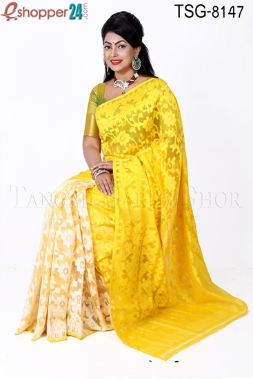 Picture of Moslin Silk Jamdani Saree - TSG-8147