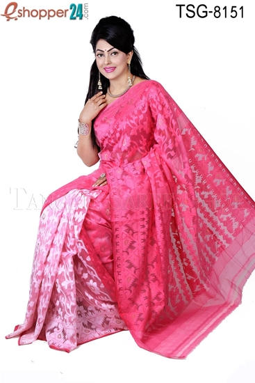 Picture of Moslin Silk Jamdani Saree - TSG-8151