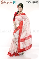 Picture of Hand Print Cotton Saree - TSG-12056
