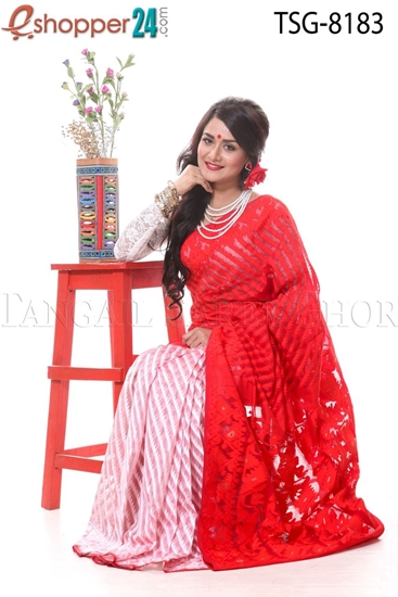 Picture of Soft Moslin Jamdani Saree - TSG-8183