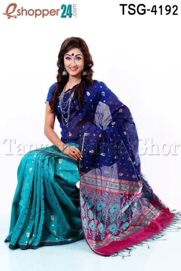Picture of Hand Work Half Silk Saree - TSG-4192