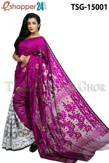 Picture of Moslin Jamdani  Saree - TSG-15001