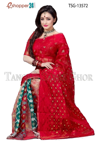 Picture of Moslin Jamdani  Saree - TSG-13572