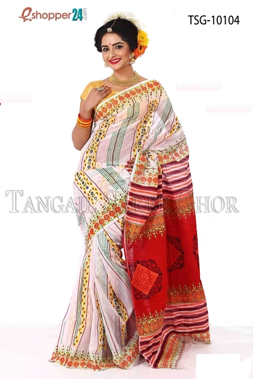 Picture of Mosline silk Hand block saree- TSG-10104