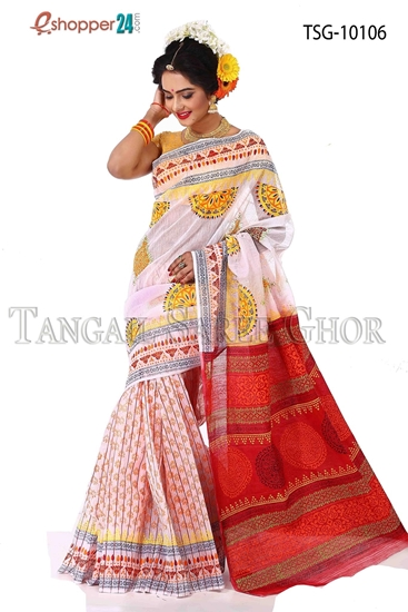 Picture of Mosline silk Hand block saree- TSG-10106