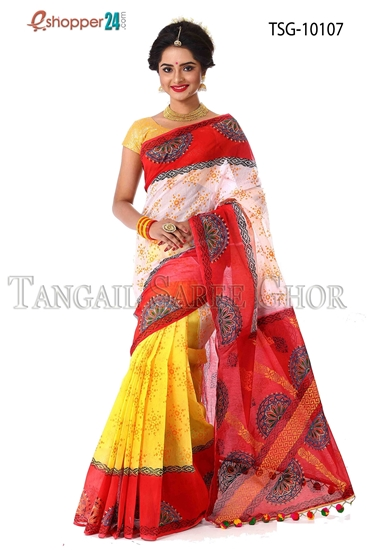 Picture of Mosline silk Hand block saree- TSG-10107