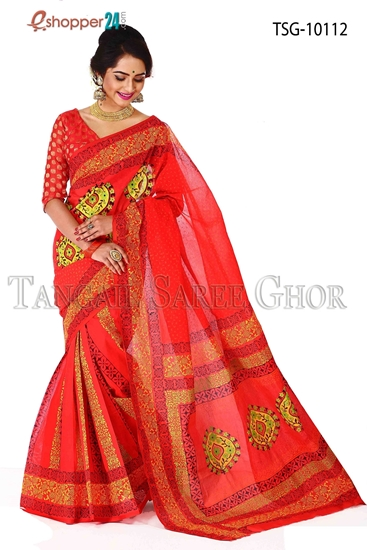 Picture of Pure Cotton Hand Block Saree TSG-10112