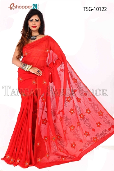 Picture of Pure Cotton Applique Work Saree TSG-10122