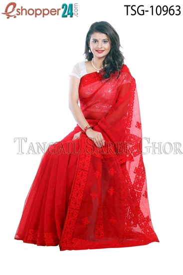 Picture of Mosline Silk Applique Work Saree TSG-10963