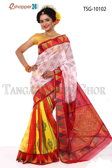 Picture of Mosline silk Hand block saree- TSG-10102