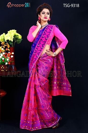 Picture of Moslin Jamdani Saree- TSG-9318