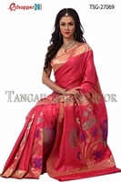 Picture of Flower katan saree - TSG-27069