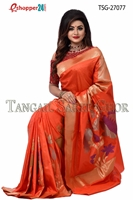 Picture of Flower katan saree  - TSG-27077