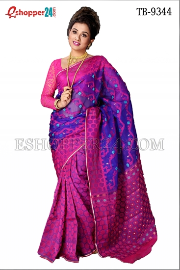 Picture of Moslin Jamdani Saree - TB-9344