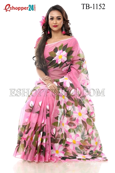 Picture of Half Silk Hand Print  Saree - TB-1152