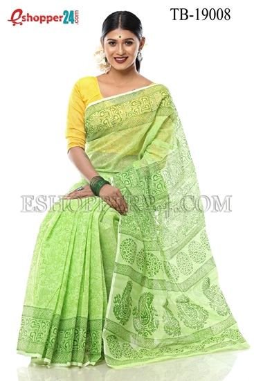Picture of Half Silk Block Print  Saree - TB-19008