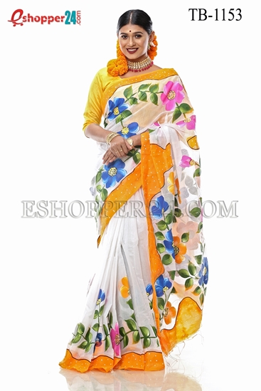 Picture of Half Silk Hand Print  Saree - TB-1153