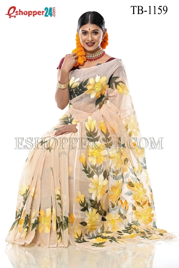 Picture of Half Silk Hand Print  Saree - TB-1159