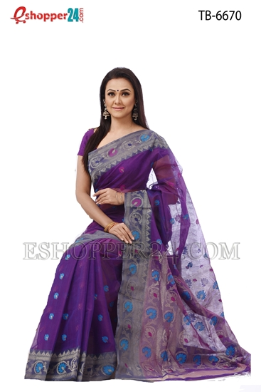 Picture of Half Silk Jamdani Saree - TB-6670