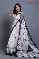 Picture of Half Silk Hand Print Saree - TB-1205