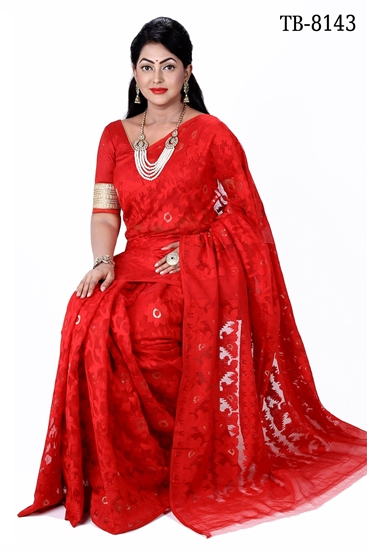 Picture of Moslin Silk all over Jamdani Saree - TB-8143
