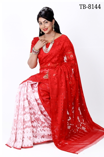 Picture of Moslin Silk all over Jamdani Saree - TB-8144