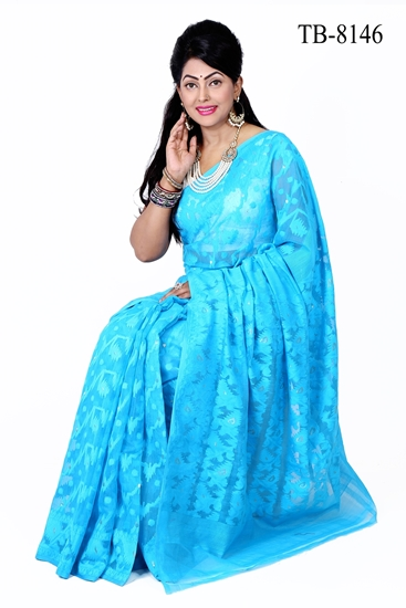 Picture of Moslin Silk all over Jamdani Saree - TB-8146