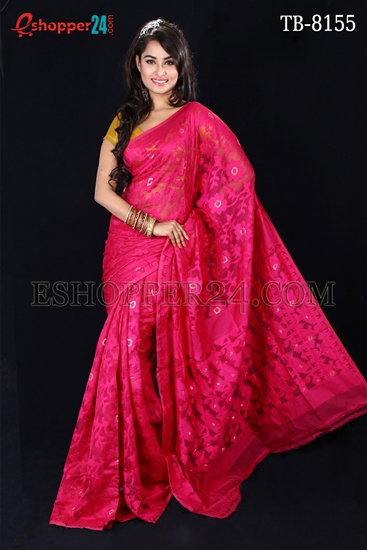Picture of Moslin Silk all over Jamdani Saree - TB-8155