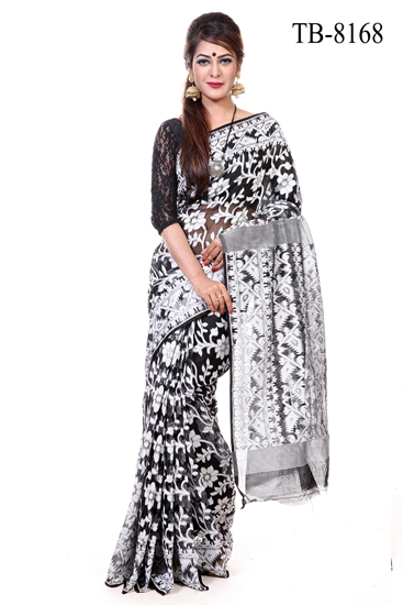 Picture of Moslin Silk all over Jamdani Saree - TB-8168