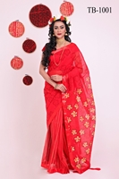 Picture of Half Silk Hand block Saree - TB-1001