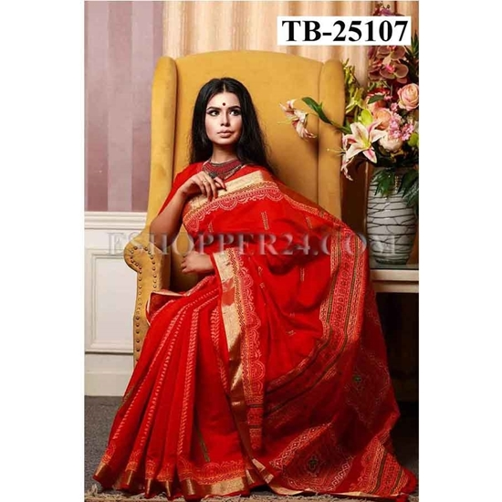 Picture of Half Silk Hand Block & Embrodiery Saree - TB-25107