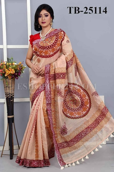 Picture of Half Silk Screen Print & Embrodiery Saree -TB-25114