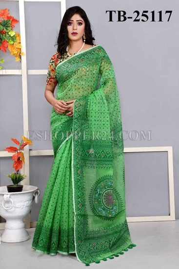 Picture of Half Silk Screen Print & Embrodiery Saree -TB-25117